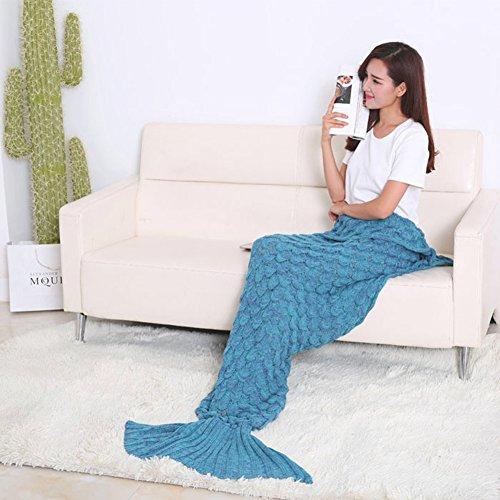 Handmade Knitted Mermaid Tail Blanket Crochet,Vhouse All Seasons Warm Bed Blanket Sofa Quilt Living Room Sleeping Bag for Adult (70-80× 35.5, Lake Blue)
