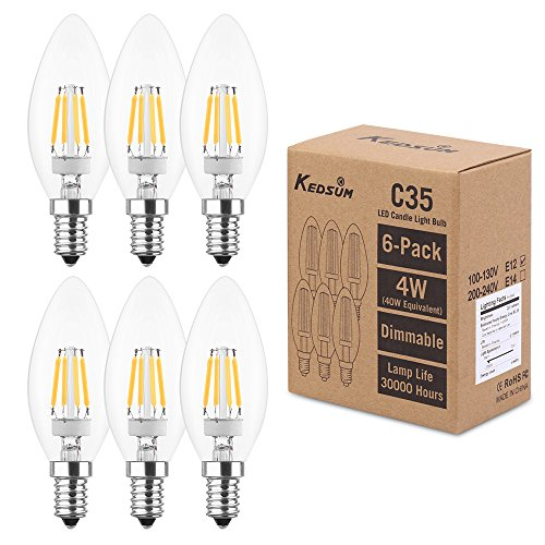 (KEDSUM C35 4W Candelabra Light Bulbs, Dimmable Chandelier LED Bulb, 2700K Warm White (40W Equivalent), 220LM Candle Light Bulbs, E12 Candelabra Base Bulb, Pack of 6 (compatible with partial dimmers))