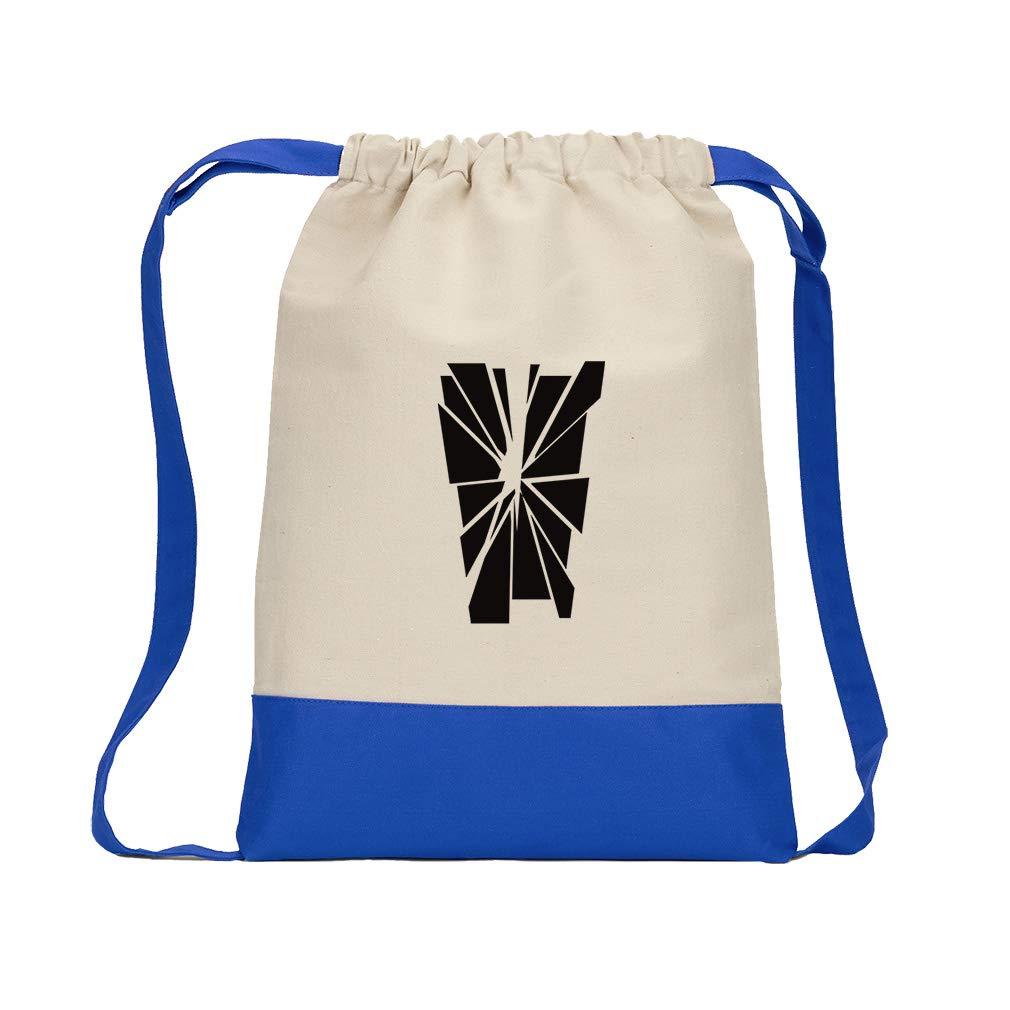 ''V'' Glass Initial Monogram Letter V Cotton Canvas Boys-Girls Backpack Color Drawstring Bag - Royal Blue