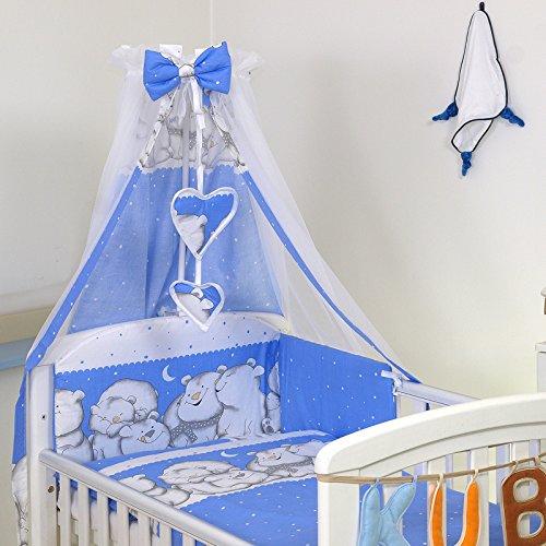 10tlg. Babybettwäsche Set 135x100cm für Bett 120 & 140cm Babybett Bettwäsche Bett Baby (D53 120x60cm) 4U-Onlinehandel