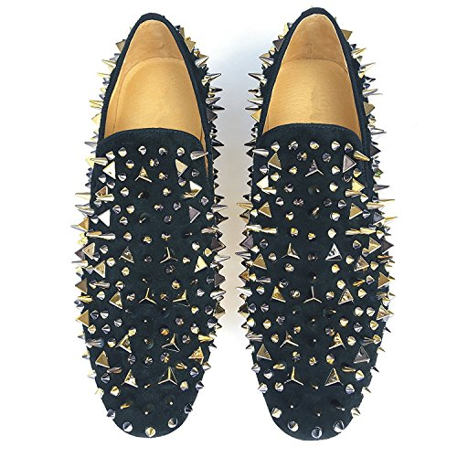 6f808e80a6fe Men s Black Leather Loafers Prom Slippers Flats With Gold Spikes and Red  Bottom Slip-On