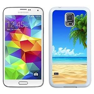 NEW Unique Custom Designed Samsung Galaxy S5 I9600 G900a G900v G900p G900t G900w Phone Case With Tropical Beach Coconut Tree Illustration_White Phone Case
