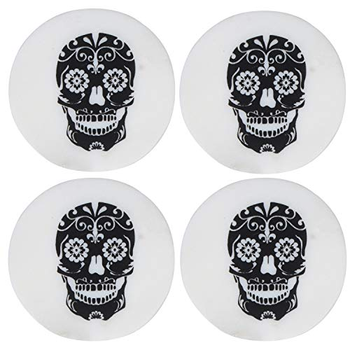 (Ecstassy Handmade Round Marble Drink Coasters Set of 4 | Stone Coaster | Coasters for Drink | Coaster Set | Stone Coaster Set | Skull Printed Coaster | Black and White Coaster set)