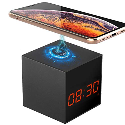 LIZVIE Hidden Spy Cube Clock Nanny Camera with Enhanced Night Vision, Wireless Speaker, Motion Detection, Invisible Lens, Video Recorder, FM Radio, 12&24 Alarm Clock (Wireless Base)