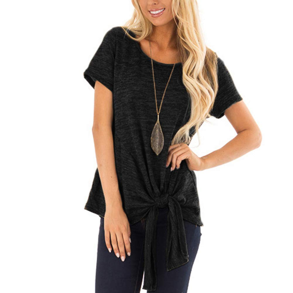 Black Women Summer Short Sleeve Casual T Shirt Tie Knot Loose Fit Top Blouses