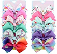 [6-Pcs/Set] 5 Inch Cute Mermaid Unicorn Rainbow Colorful Hair Bows Clip Accessories Gifts for Toddlers Girls