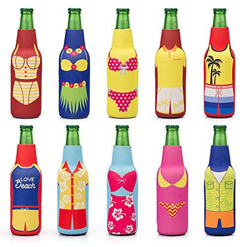 Avery Barn 10pc Mixed Design Fun Outfit Theme Neoprene Zipper Sleeve Insulated Beer Bottle Covers - Set 2: Summer Lovin