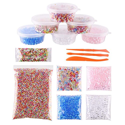 DECORA 15 Pcak Slime Making Kits Fishbowl Beads Foam Beads Fimo Fruit Slice Package Box and Tool Set for DIY Crafts Handmade Slime and Christmas Gift