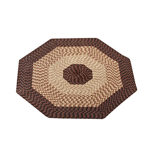 (Collections Etc Versatile Alpine Braided Accent Rug with 3-Tone Coloring for Any Room, Chocolate, 4' Octagon)