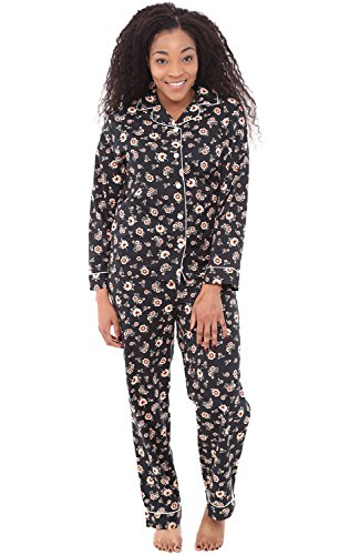 Alexander Del Rossa Women's Lightweight Button Down Pajama Set, Long Cotton Pjs, Small Simple Flowers on Black with White Piping (A0517V70SM) (Friends And Family White House Black Market)