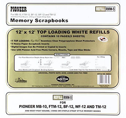 Pioneer Memory Album - Pioneer Photo Albums Bund Top Loading Page Protectors with White Inserts, 12 by 12-Inch, 5-Pack