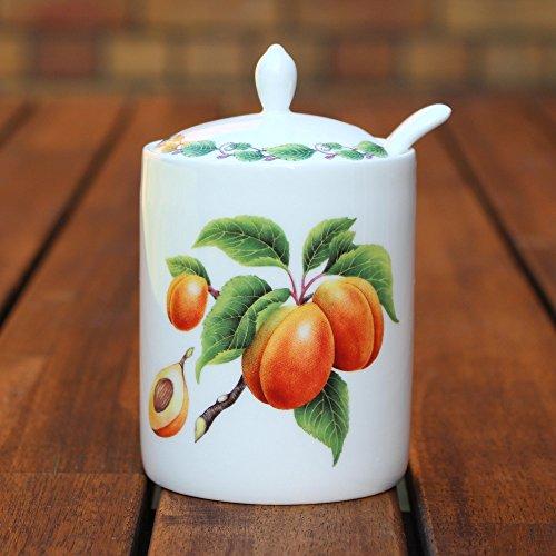 Modernes Jam Topf und Löffel-Apricot