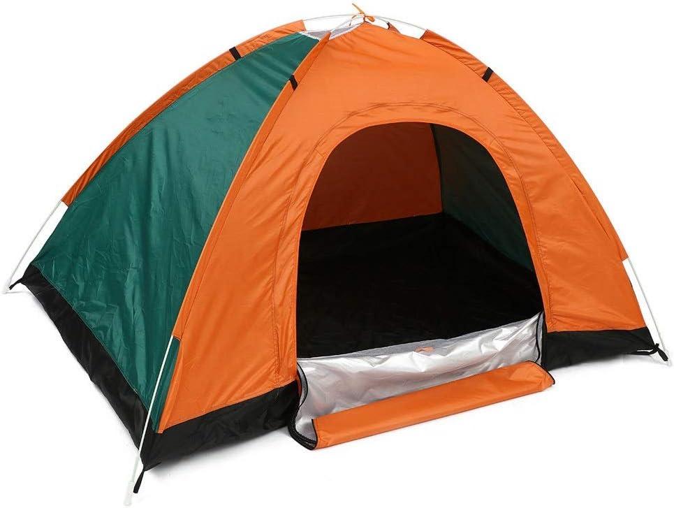 携帯用テント 多機能アウトドアテントオックスフォード布防水キャンプテントダブルドア折りたたみテント (Color : Orange, Size : 200x150x115cm)
