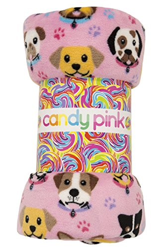 Candy Pink Puppy Blanket Throw Blanket