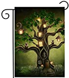 ShineSnow Mysterious Tree Latern House in Forest Fantastic Fairy Garden Yard Flag 12''x 18'' Double Sided, Polyester Welcome House Flag Banners for Patio Lawn Outdoor Home Decor