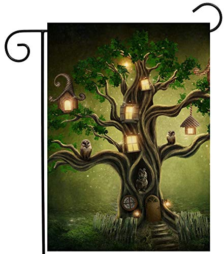 ShineSnow Mysterious Tree Latern House in Forest Fantastic Fairy Garden Yard Flag 12''x 18'' Double Sided, Polyester Welcome House Flag Banners for Patio Lawn Outdoor Home Decor by ShineSnow