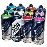 Loop 400ml Popular Colors Set of 12 Graffiti Street Art Mural Spray Paint