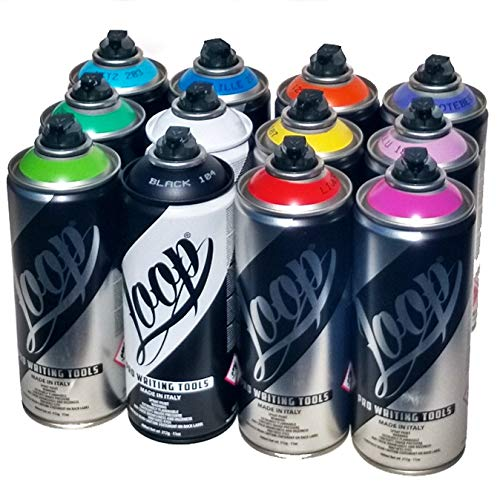 Loop 400ml Popular Colors Set of 12 Graffiti Street Art Mural Spray Paint (Montana Gold Spray Paint Set)