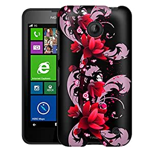 Nokia Lumia 635 Case, Slim Fit Snap On Cover by Trek Red Flower on Black Case