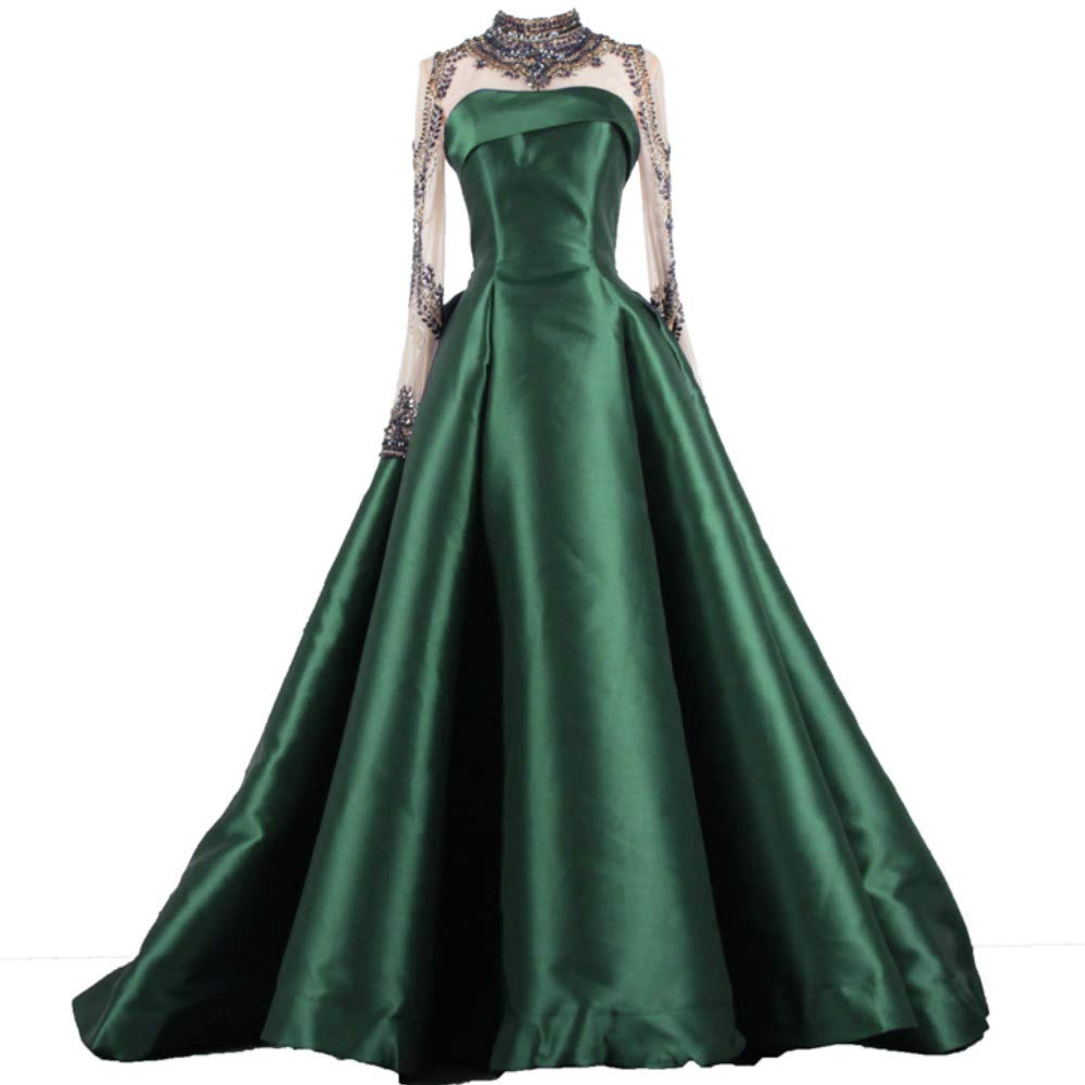 Dark Green Liaoye Long Evening Dress for Women Formal with Sleeves Beaded Prom Dress Mermaid Party Ball Gowns