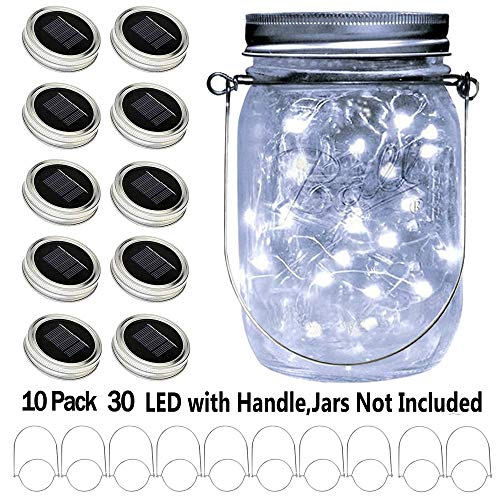 YITING Upgraded Solar Mason Jar Lid Lights, 10 Pack 30 LED Fairy Star Firefly String Lids Lights Including (10 pcs Hangers and 6 pcs PVC),for Wedding Patio Garden Party Decorations (No Jars) (Mason Jar Lids Color)
