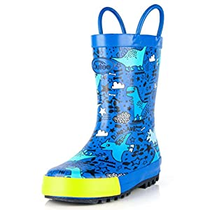 Outee Toddler Kids Rain Boots Rubber Cute Printed with Easy-On...
