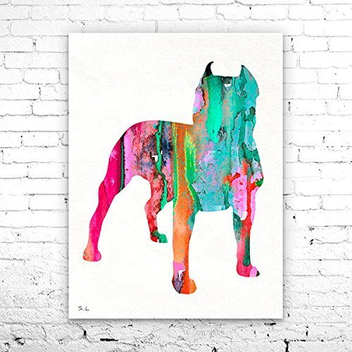 Amazon com: Pit bull 4 Watercolor Print, Pitbull art, dog