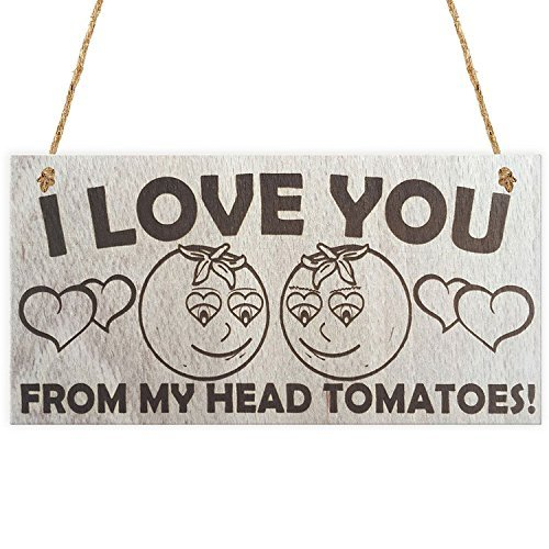 Home Decor Plaque Sign I Love You From My Head Tomatoes Wood