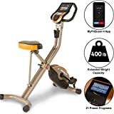 Exerpeutic Gold 575 XLS Bluetooth Smart Technology Folding Upright Exercise Bike, 400lb