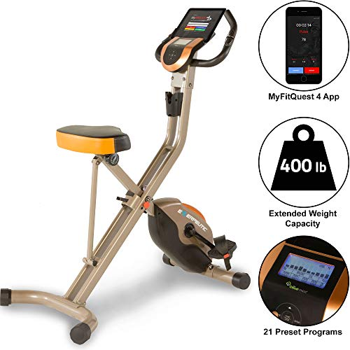 Exerpeutic Gold 575 XLS Bluetooth Smart Technology Folding Upright Exercise Bike, 400lb (Best Folding Exercise Bike For Short Person)