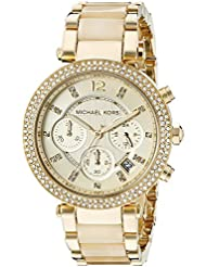 Michael Kors MK5632 Womens Parker Analog Display Chronograph Quartz Watch, Gold Stainless Steel and Horn Acetate...