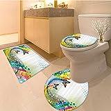 3 Piece Anti-slip mat set Surrea Fluid Liquid Flowing Paint Splash Featured Digita Artfu Graphic Fabric Set wi Non Slip Bathroom Rugs