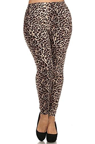 ALWAYS Women s Junior Plus Size Stretch Brown Leopard Print Leggings 2fc390f2457