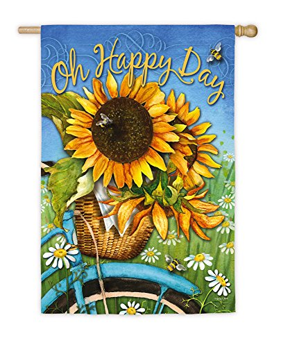 Evergreen Flag Happy Day Sunflowers Suede House Flag, 29 x 43 inches ()
