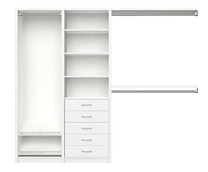ClosetMaid 6105240 SpaceCreations 64u0026quot;   99u0026quot; Wood Closet Organizer  Kit, Classic White