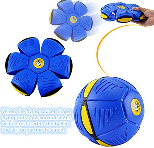 Taipove Magic Flying Saucer Ball UFO Magic Flash Darts Deformation Ball Lost Ball Frisbee Flying Discs Toy Soccer Game (Blue)