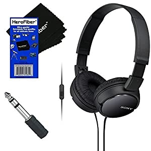 Sony MDRZX110AP ZX Series Extra Bass Smartphone Headset with Mic (Black) + 3.5mm Mini Plug to 1/4 inch Headphone Adapter & HeroFiber® Ultra Gentle Cleaning Cloth