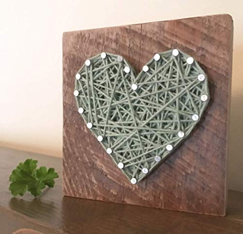 Sweet & small wooden aqua heart gift. String art heart sign. Perfect for Valentine's Day, home accents, Wedding favors, Anniversaries, nurseries and just because gifts by Nail it Art.
