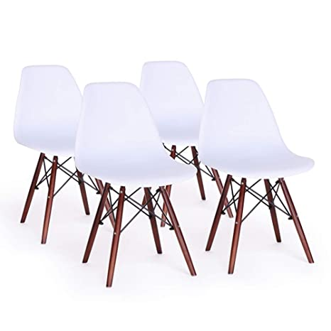 Dining Chair Set Of 4 Mid Century Modern Dsw Side Chairs Shell Lounge Chair For Kitchendiningbedroomliving Room