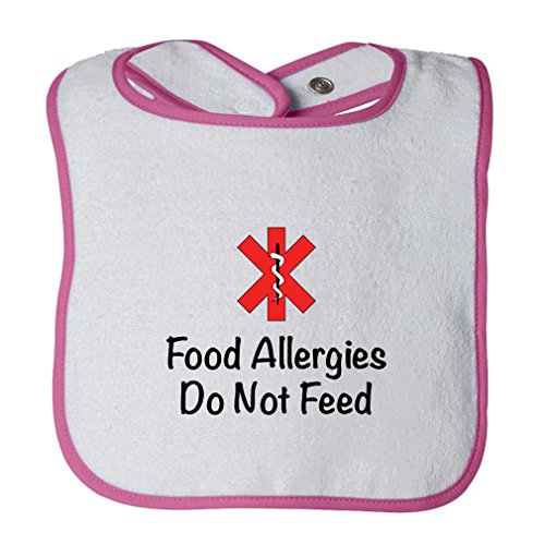 Terry Cloth Food (Food Allergies Do Not Feed Infant Contrast Trim Terry Bib White/Hot Pink)