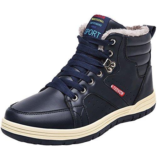 Jions Mens Inverno Stivali Da Neve In Pelle Impermeabile Allacciatura Sneakers Alla Caviglia Caldi Stivaletti Allaperto Scarpe Con Fodera In Pelliccia B Blu