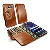 Alston Craig Vintage Genuine Leather Rfid Wallet Case Cover for Samsung Galaxy S7 Edge (Free Screen Protector) - Brown
