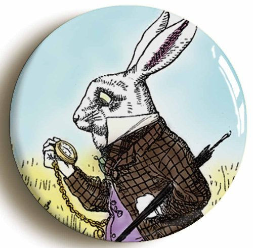 Alice In Wonderland White Rabbit Button Pin (Size 1inch Diameter) Lewis Carroll (The Rabbit From Alice In Wonderland Costume)