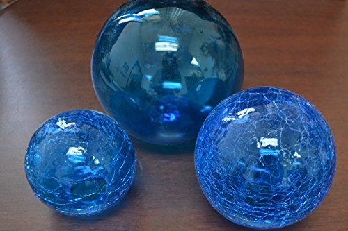 Glass Decorative Balls (Blue Decorative Reproduction Blown Glass Float Fishing Buoy Ball 3