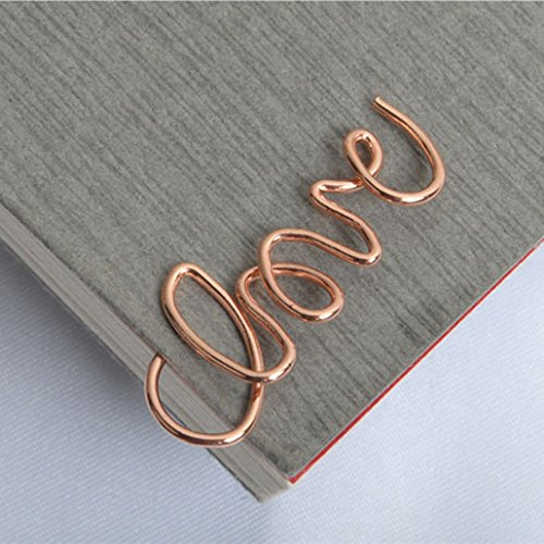 JANOU Love Paper Clips Metal Card File Note for Office School Rose Gold