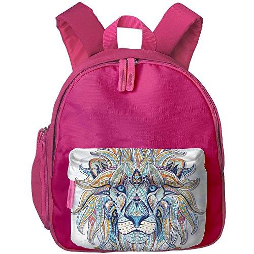Kids Lion Tamer Costumes (Lion Printed Kids School Backpack Cool Children Bookbag Pink)
