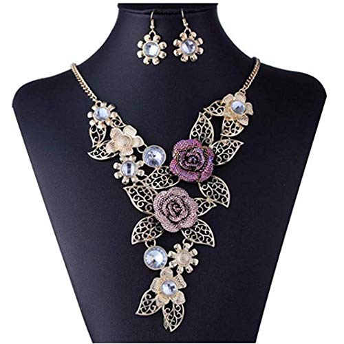 DDLBiz Womens Vintage Flower Rose Gold Necklace Statement Earrings Jewelry Set