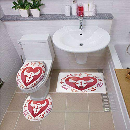 Bath mat set Round-Shaped Toilet Mat Area Rug Toilet Lid Covers 3PCS,Taurus,Zodiac Sign Bull Personality Western Astrology Human Character Mystic Print Decorative,Dark Coral White Bath mat set Round-S