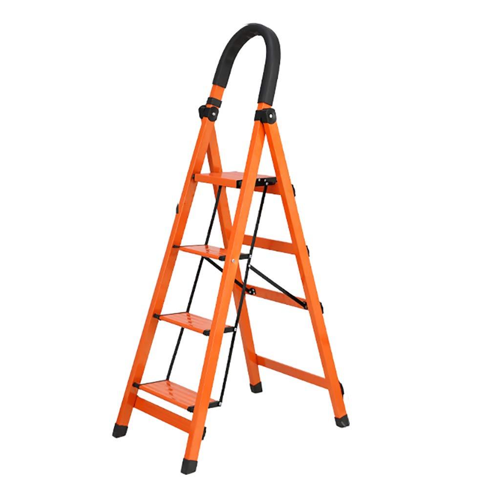 ステップスツール 大人用ステップスツール、ポータブル4ステップラダー折りたたみステップアルミ合金家庭用ラダー厚くした (色 : Orange) B07LBS5V1X Orange