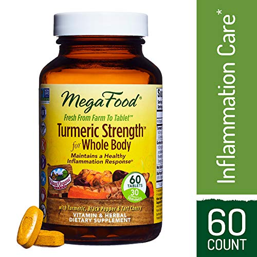 MegaFood - Turmeric Strength for Whole Body, Curcumin Support for a Healthy Inflammation Response with Tart Cherry and Holy Basil Leaf, Vegetarian, Gluten-Free, Non-GMO, 60 Tablets (FFP)